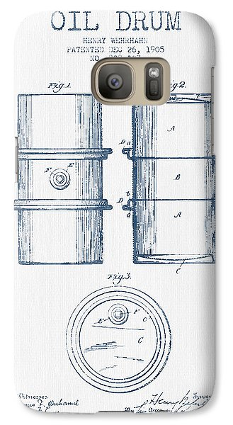 Drum Galaxy S7 Case - Oil Drum Patent Drawing From 1905 -  Blue Ink by Aged Pixel