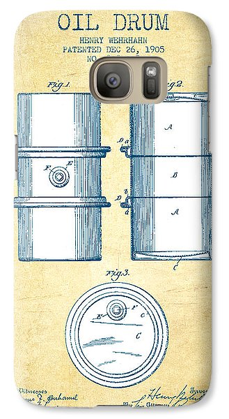 Drum Galaxy S7 Case - Oil Drum Patent Drawing From 1905 - Vintage Paper by Aged Pixel