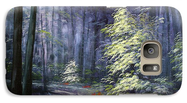 Galaxy Case featuring the painting Oil Painting - Forest Light by Roena King