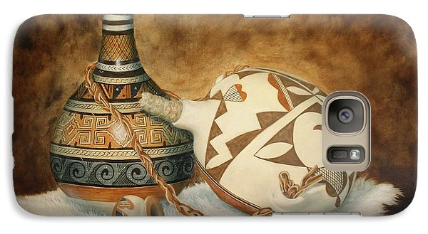Galaxy Case featuring the painting Oil Painting - Indian Pots by Roena King