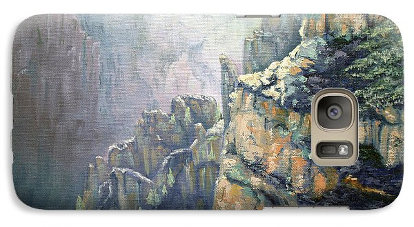 Galaxy Case featuring the painting Oil Painting - Majestic Canyon by Roena King