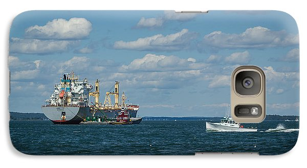 Galaxy Case featuring the photograph Oil Tanker And Lobster Boat by Jane Luxton