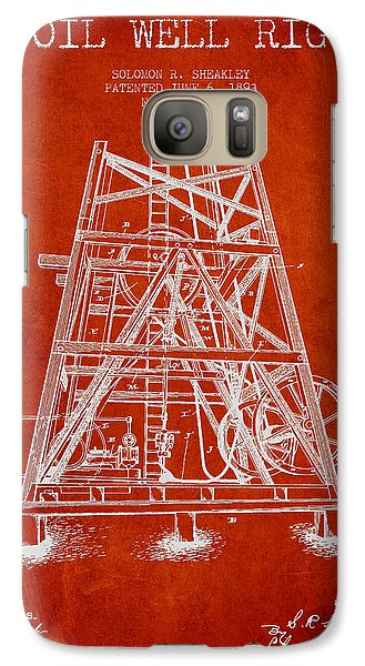 Oil Well Rig Patent From 1893 - Red Galaxy S7 Case
