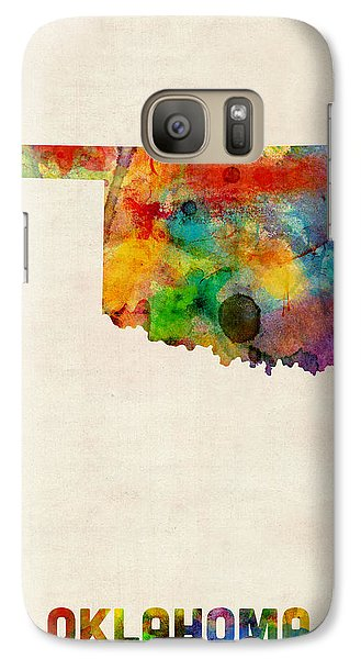 Oklahoma Watercolor Map Galaxy Case by Michael Tompsett