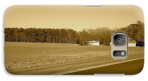Galaxy Case featuring the photograph Old Barn And Farm Field In Sepia by Amazing Photographs AKA Christian Wilson