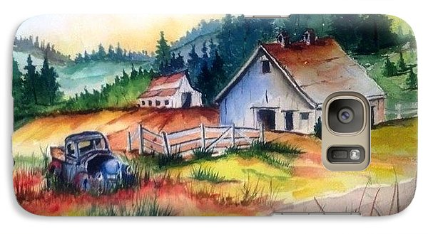 Galaxy Case featuring the painting Old Barn And Truck by Richard Benson