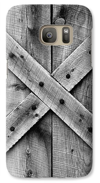 Galaxy Case featuring the photograph Old Barn Door In Black And White by Lincoln Rogers