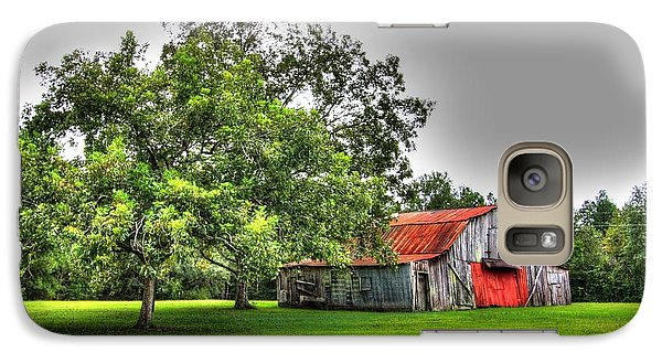 Galaxy Case featuring the photograph Old Barn With Red Door by Lanita Williams