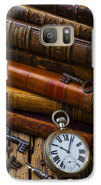 Old Books And Pocketwatch Galaxy Case by Garry Gay
