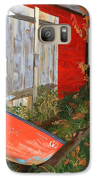 Galaxy Case featuring the painting Old Canoe by Lynne Reichhart