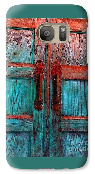 Galaxy Case featuring the photograph Old Church Door Handles 1 by Becky Lupe