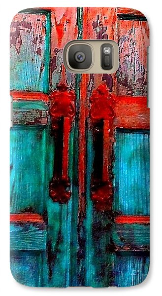 Galaxy Case featuring the photograph Old Church Door Handles 2 by Becky Lupe
