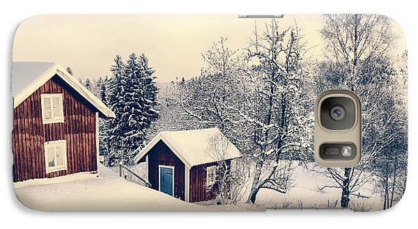 Galaxy Case featuring the photograph Old Cottages In A Snowy Rural Landscape by Christian Lagereek