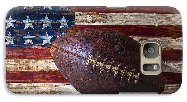 Old Football On American Flag Galaxy S7 Case by Garry Gay
