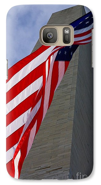 Galaxy Case featuring the photograph Old Glory And The Washington Monument by John S