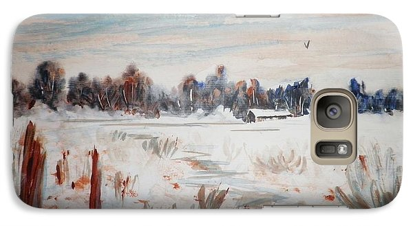 Galaxy Case featuring the painting Old Homestead In Winter by Suzanne McKay