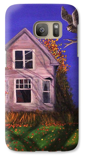 Galaxy Case featuring the painting Old House And Owl by Janet Greer Sammons