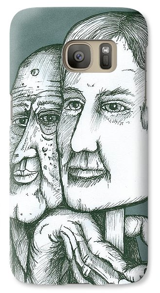Galaxy Case featuring the painting Old Man Behind A Young Mans Face by Richie Montgomery