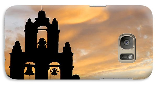 Galaxy Case featuring the photograph Old Mission Bells Against A Sunset Sky by Lincoln Rogers