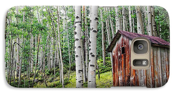 Galaxy Case featuring the photograph Old Outhouse Among Aspens by Lincoln Rogers