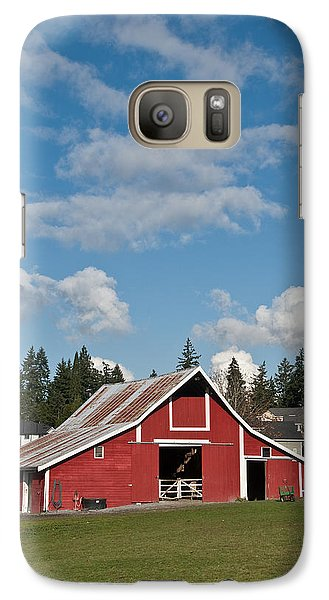Galaxy Case featuring the photograph Old Red Barn And Puffy Clouds by Jeff Goulden