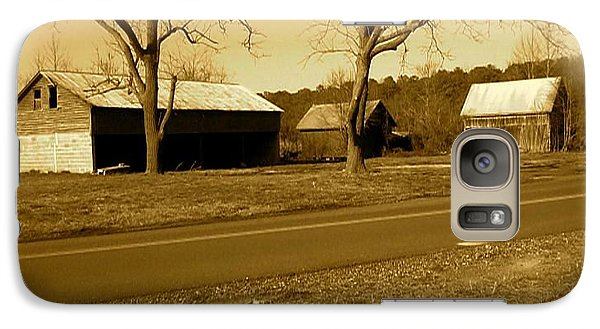 Galaxy Case featuring the photograph Old Red Barn In Sepia by Amazing Photographs AKA Christian Wilson