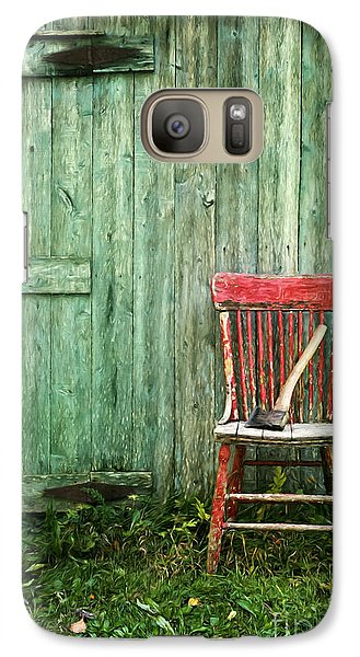 Galaxy Case featuring the photograph Old Red Chair Near A Barn/digital Oil Painting by Sandra Cunningham