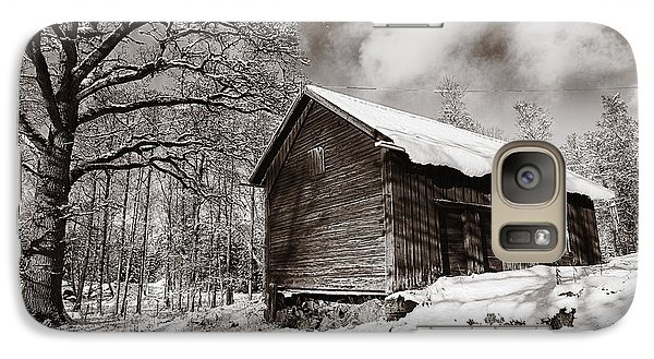 Galaxy Case featuring the photograph Old Rural Barn In A Winter Landscape by Christian Lagereek