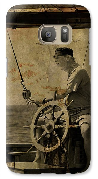 Galaxy Case featuring the photograph old sailor A vintage processed photo of a sailor sitted behind the rudder in Mediterranean sailing by Pedro Cardona