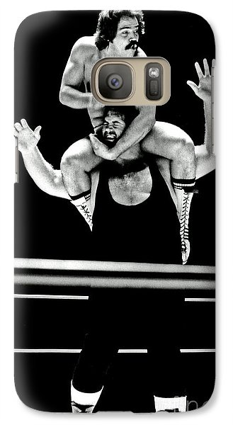 Galaxy Case featuring the photograph Old School Wrestling Piggyback Ride By Mando Guerrero by Jim Fitzpatrick