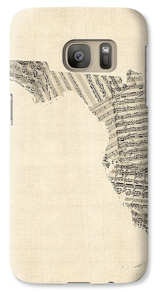 Miami Galaxy S7 Case - Old Sheet Music Map Of Florida by Michael Tompsett