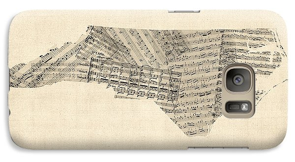 Old Sheet Music Map Of North Carolina Galaxy Case by Michael Tompsett