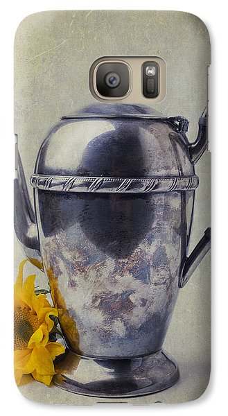 Sunflower Galaxy S7 Case - Old Teapot With Sunflower by Garry Gay