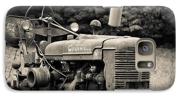 Old Tractor Black And White Square Galaxy S7 Case by Edward Fielding
