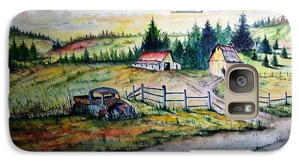Galaxy Case featuring the painting Old Truck And Barns by Richard Benson