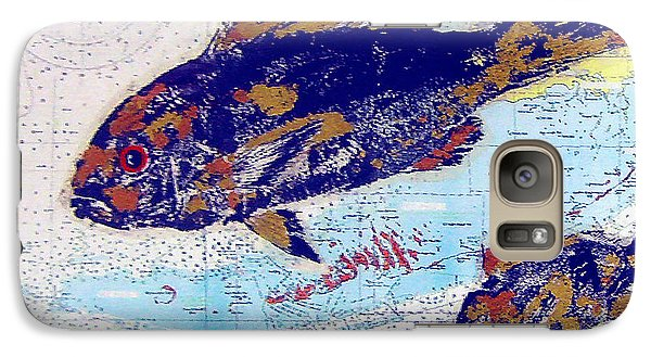 Galaxy Case featuring the photograph Old/vintage Over-painted Marine Chart by Merton Allen