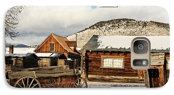 Galaxy Case featuring the photograph Old Wagon And Ghost Town Buildings by Sue Smith