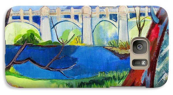 Galaxy Case featuring the painting Old Western Gateway Bridge Schenectady To Scotia by Betty Pieper