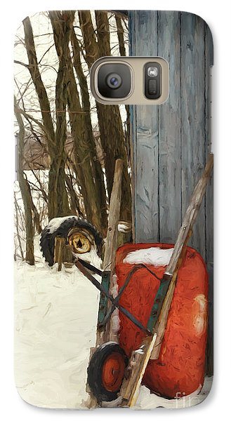 Galaxy Case featuring the photograph Old Wheelbarrow Leaning Against Barn/ Digital Painting by Sandra Cunningham