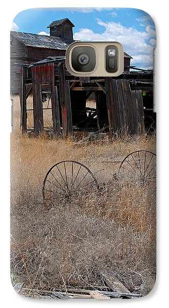 Galaxy Case featuring the photograph Old Wheels And Barn by Kjirsten Collier