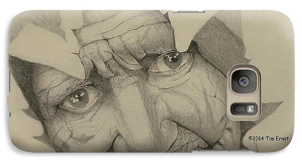 Galaxy Case featuring the drawing Old Woman Leaf  by Tim Ernst