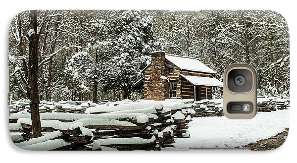 Galaxy Case featuring the photograph Oliver's Log Cabin Nestled In Snow by Debbie Green