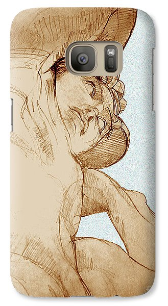 Galaxy Case featuring the drawing Olympic Athletics Discus Throw by Greta Corens