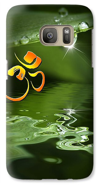 Galaxy Case featuring the mixed media Om On Green With Dew Drop by Peter v Quenter