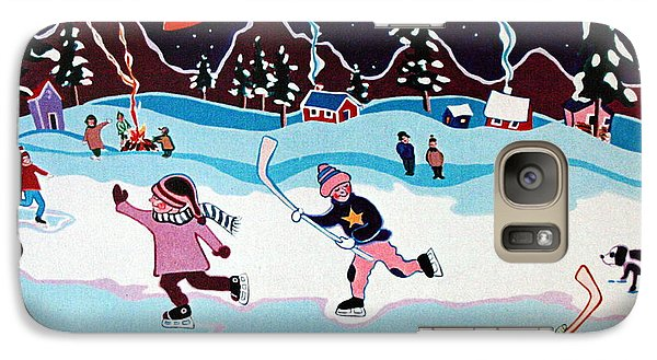 Galaxy Case featuring the painting On Frozen Pond by Joyce Gebauer