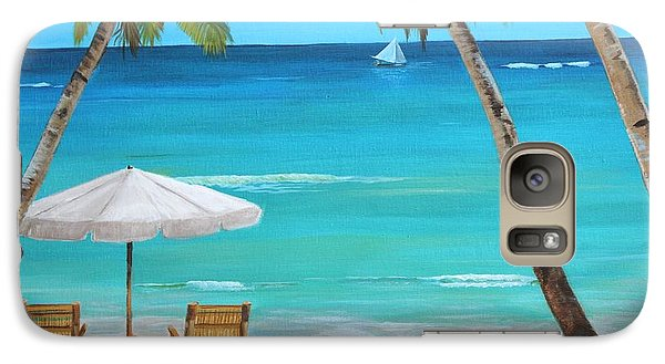 Galaxy Case featuring the painting On The Beach by Jesslyn Fraser