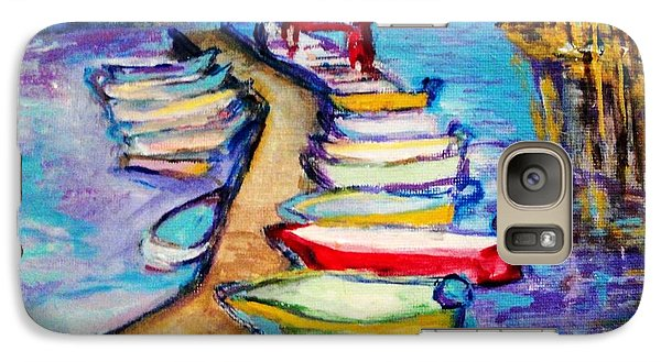Galaxy Case featuring the painting On The Boardwalk by Helena Bebirian