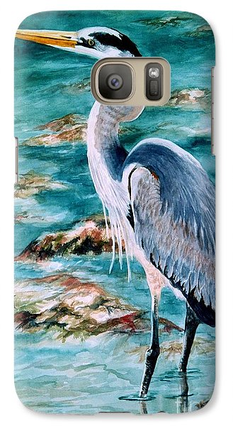 Galaxy Case featuring the painting On The Rocks Great Blue Heron by Roxanne Tobaison
