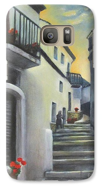 Galaxy Case featuring the painting On The Way To Mamma's House In Castelluccio Italy by Lucia Grilletto