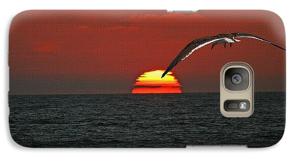 Galaxy Case featuring the photograph One Black Skimmers At Sunset by Tom Janca